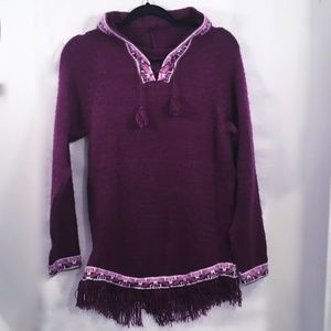 Alpaca Purple Pullover SOFT Hooded Sweater Size S